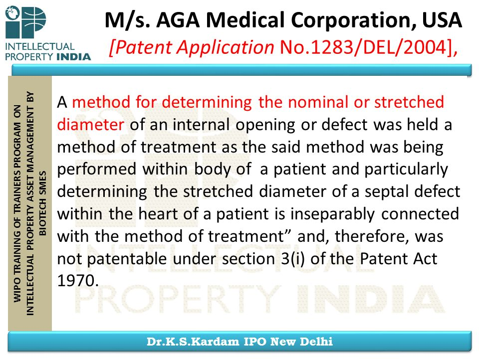 M/s. AGA Medical Corporation, USA [Patent Application No